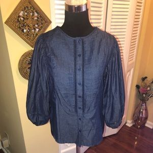 Gracia Denim Peasant Blouse NWT - Small